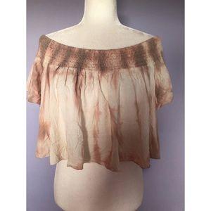 Aakaa pink tie dye cold shoulder crop top